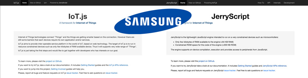 The Samsung IoT.js and JerryScript pages