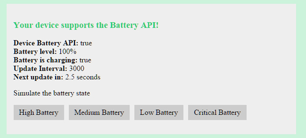 Battery status crucial information