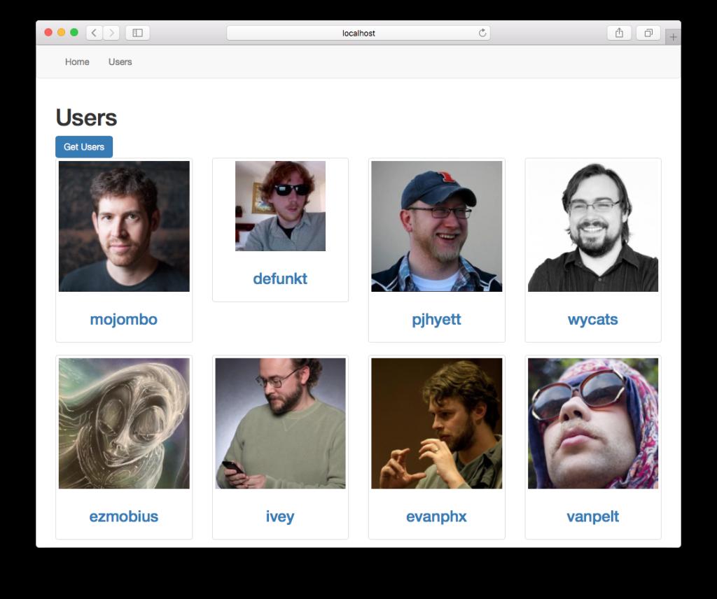 Screenshot of Vue.js app