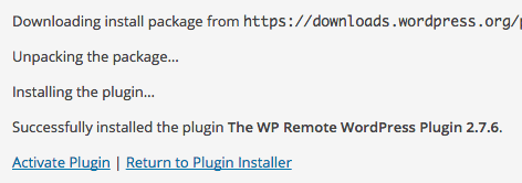 WP Remote Installed