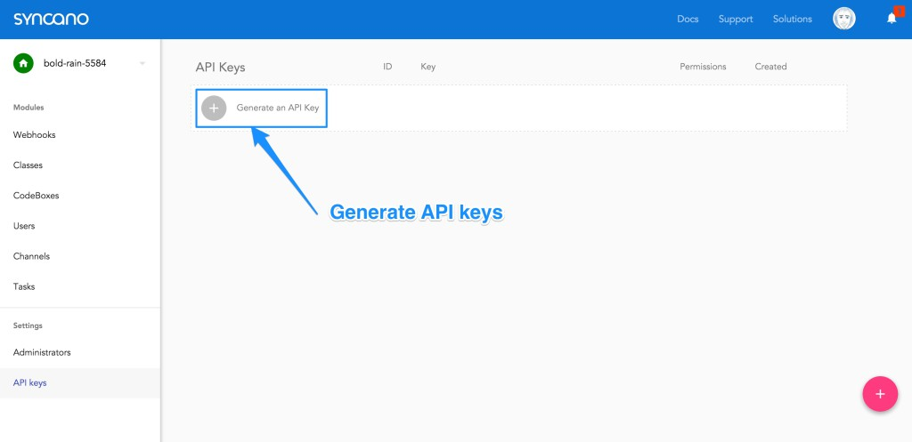 Generating an API key