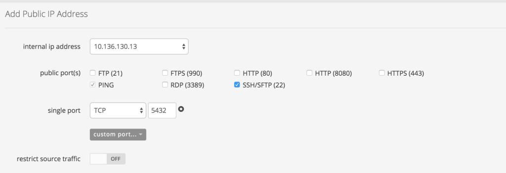 PostgreSQL set public IP address