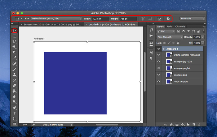 Creating Artboards with Photoshop