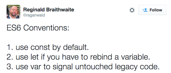 Reginald Braithwaite's ES6 conventions tweet