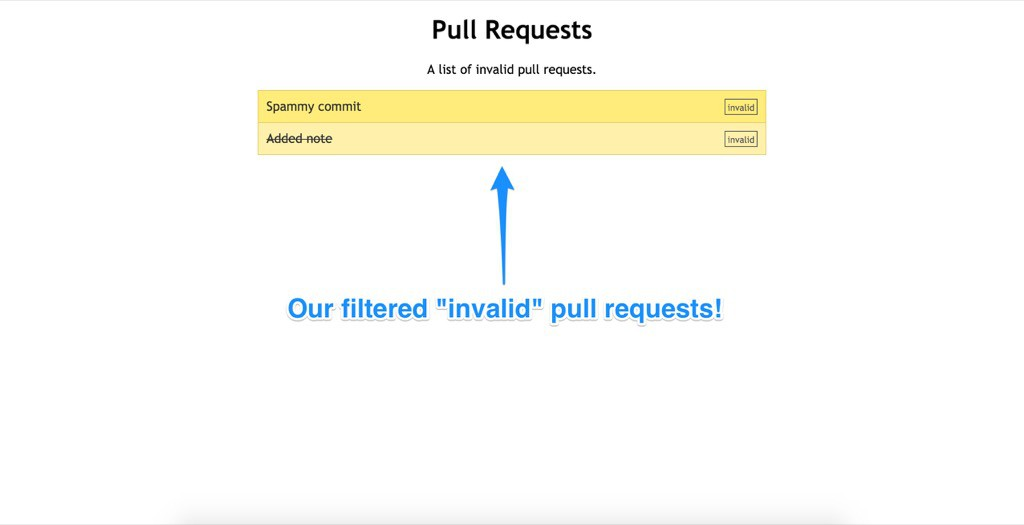 Our app in action showing invalid pull requests