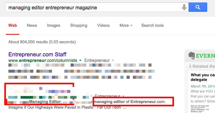 Find publication editors/writers (Google)
