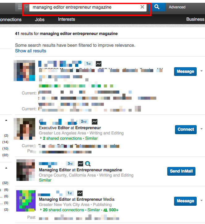 Find publication editors/writers (LinkedIn)