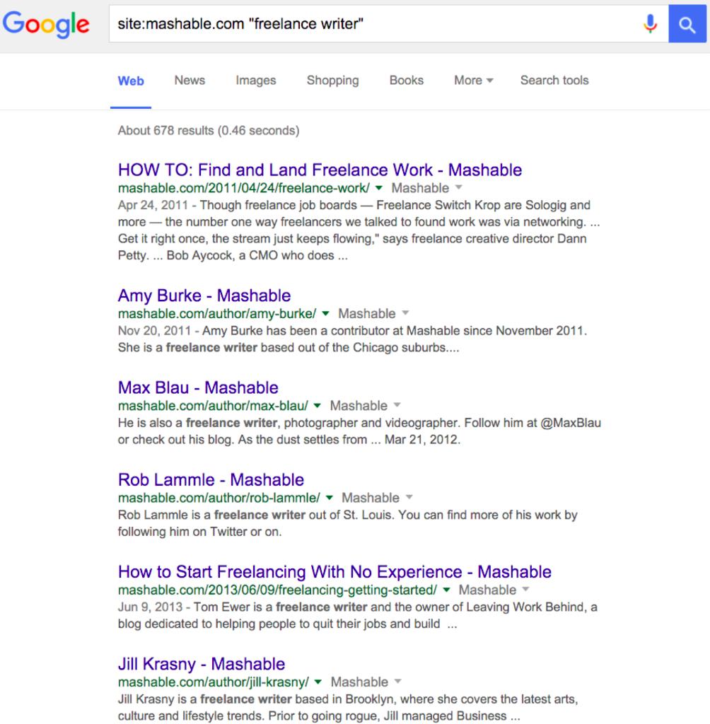 Google search (freelance writers)