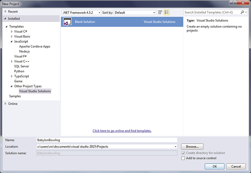 New blank solution in Visual Studio