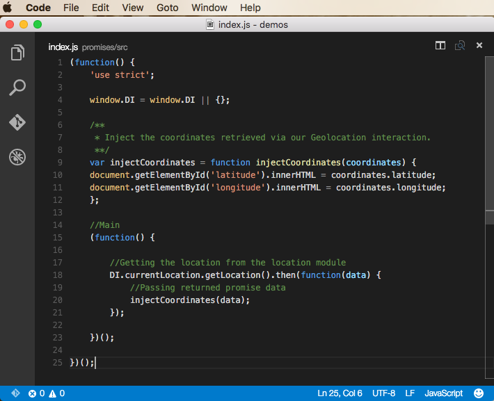 Promise calling code example