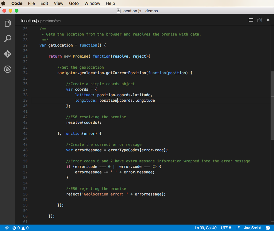Promise module code example
