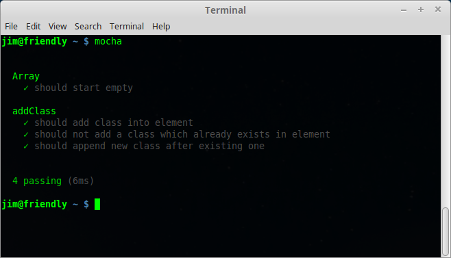Mocha terminal output - 4 tests passing
