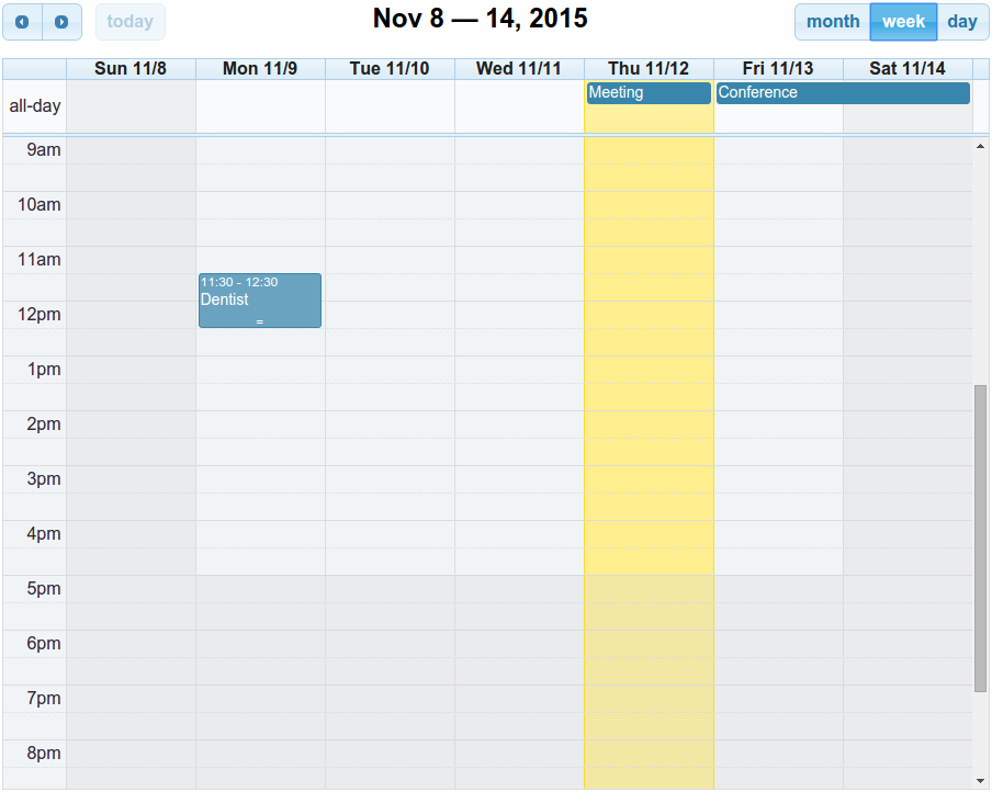 Full Calendar week view
