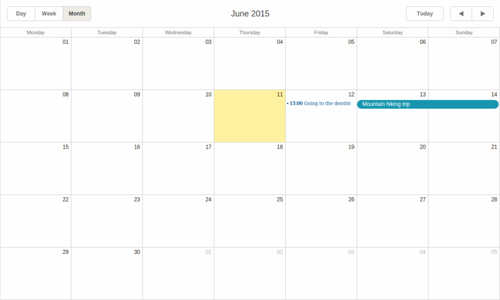 dhtmlxScheduler month view