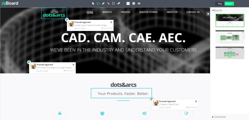 A screenshot of the zipboard interface