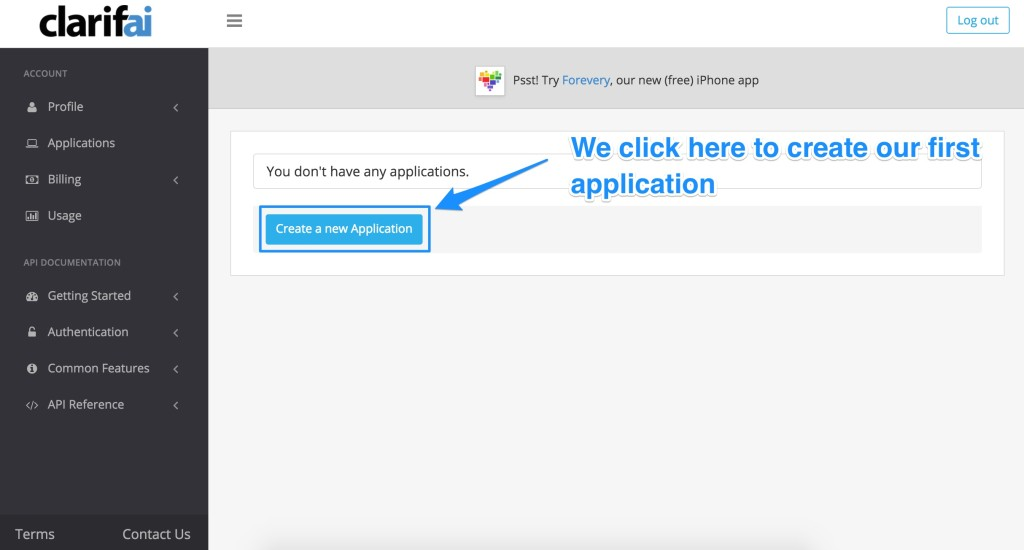 """The """"Create a new application button"""""""