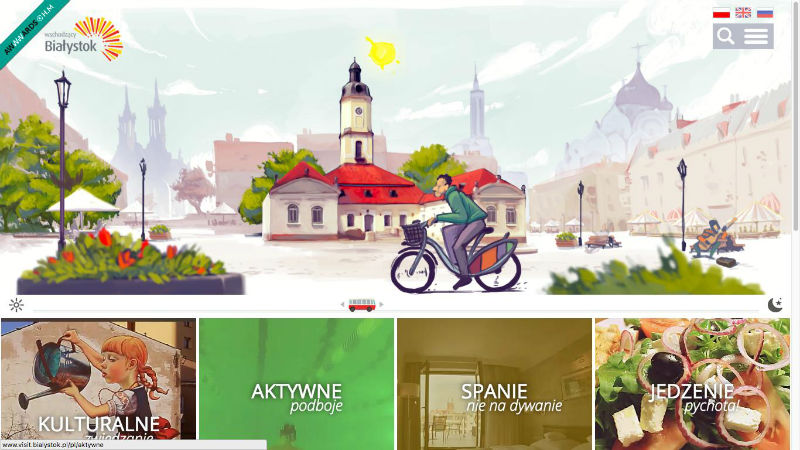 Tourism website for Bialystok fully loaded