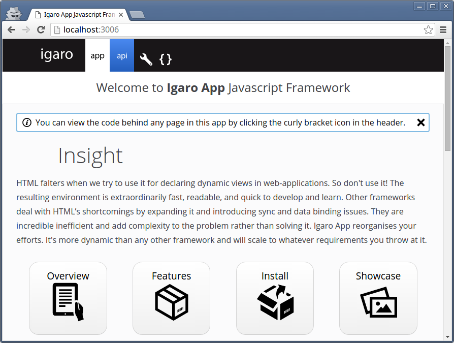Screen shot of a standard Igaro App install