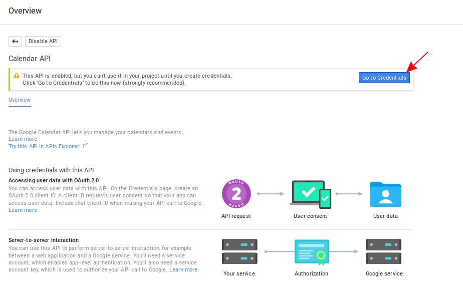 Screenshot of the Google Calendar API overview screen