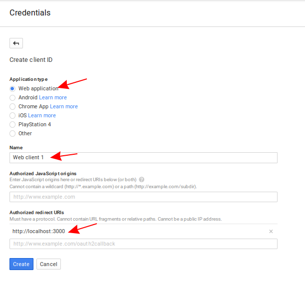 Screenshot of the create client ID form