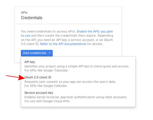 Screenshot of the API credentials screen