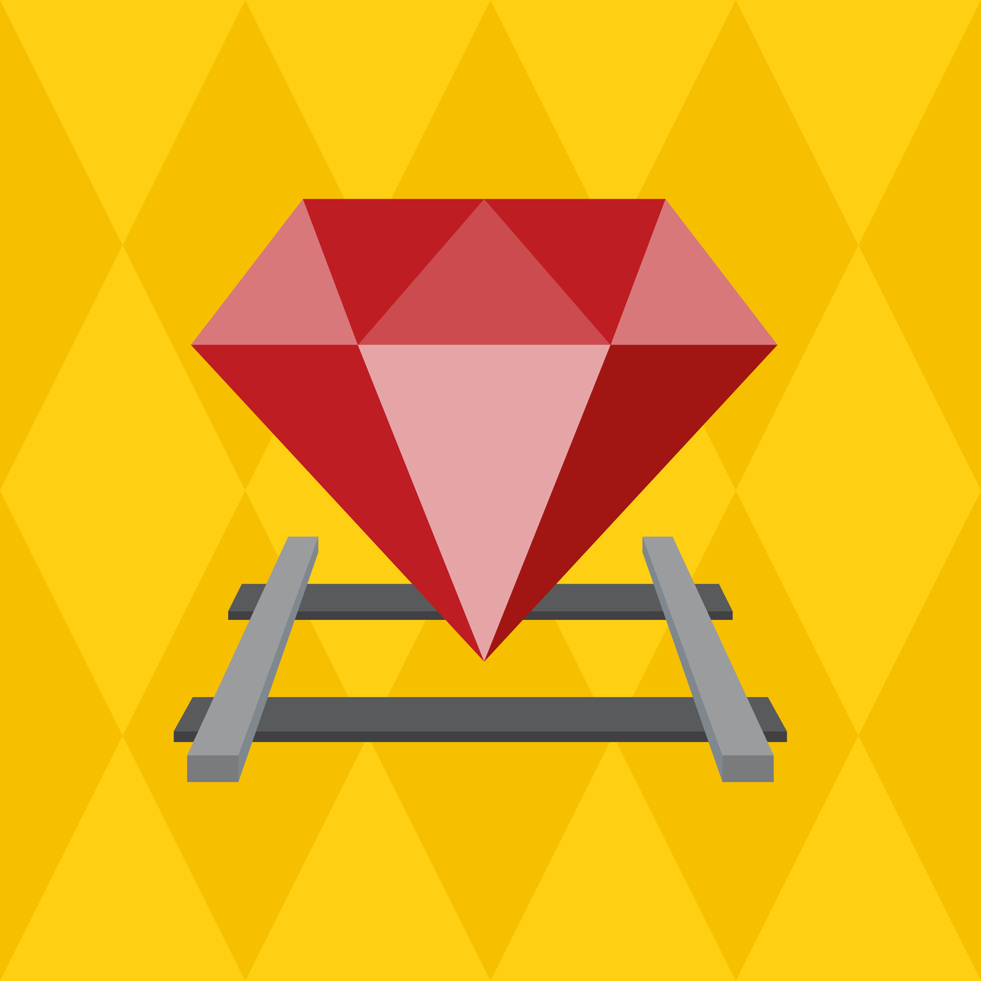 Ruby on the railway, Vector Flat design