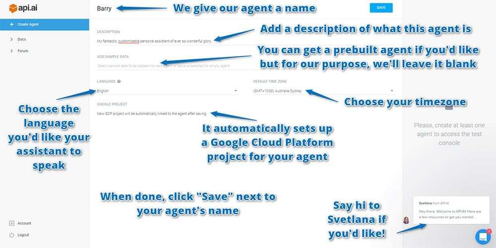 Settings for your new agent in Api.ai