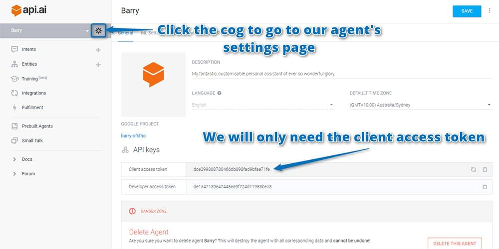 Finding your Api.ai API keys