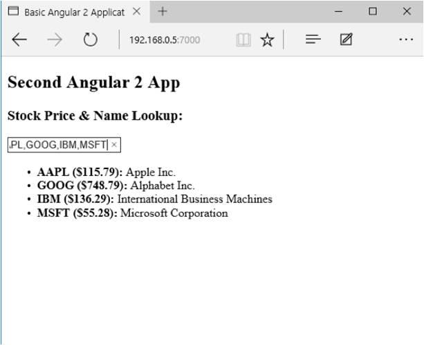 Basic Angular 2 application
