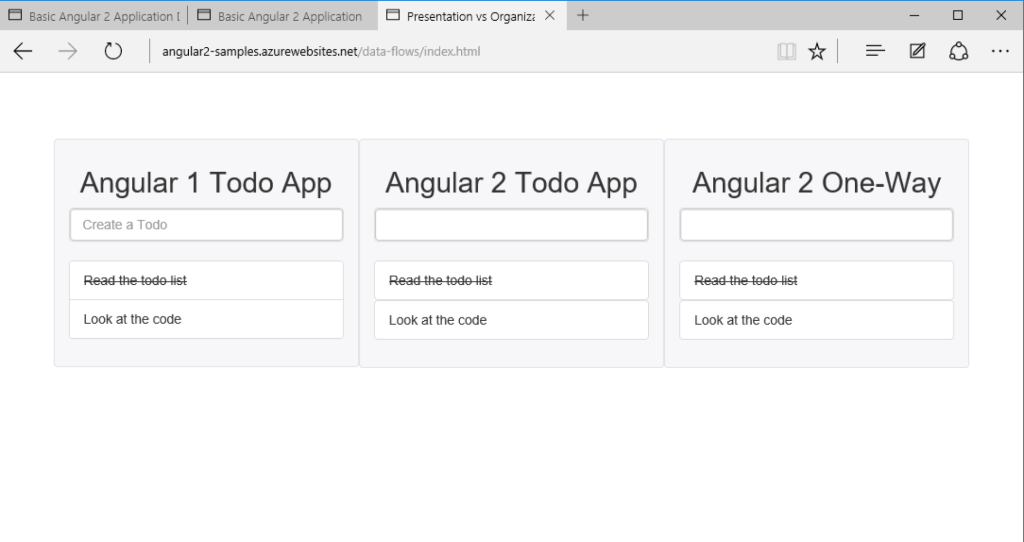 Simple basic Todo app in Angular 1 and Angular 2