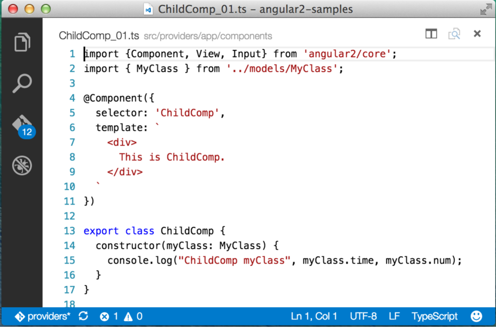 ChildComp with MyClass injected into the constructor