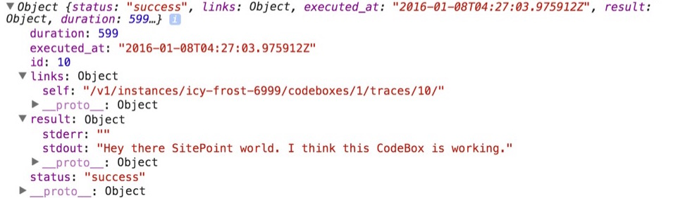 CodeBox console output in the browser