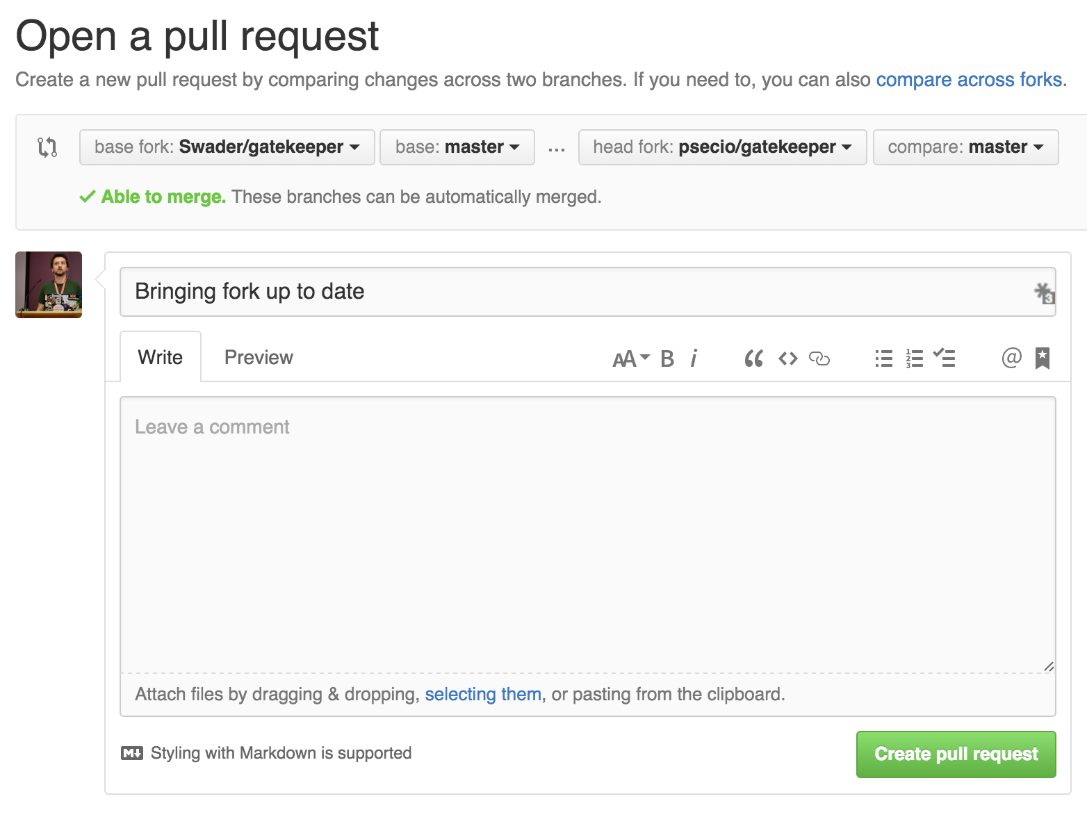 Create a new pull request