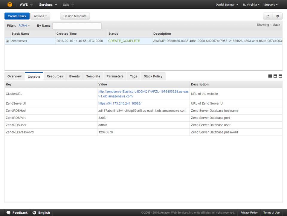 CloudFormation console