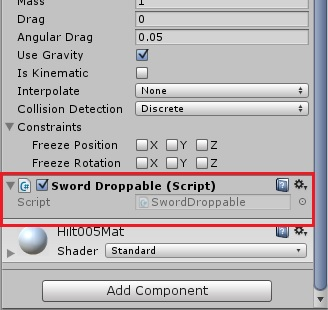 Sword droppable