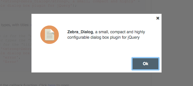 Zebra Dialog Example