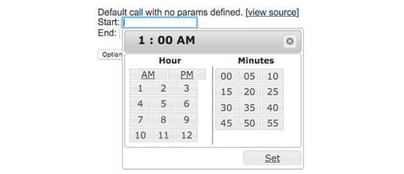 ptTimeSelect example