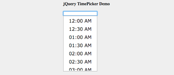 jQuery Timepicker example