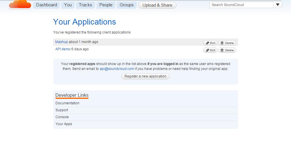 Screenshot of the SoundCloud application dashboard