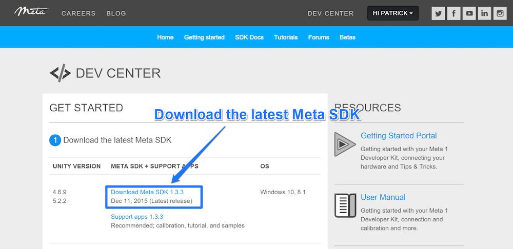 Downloading the latest Meta SDK