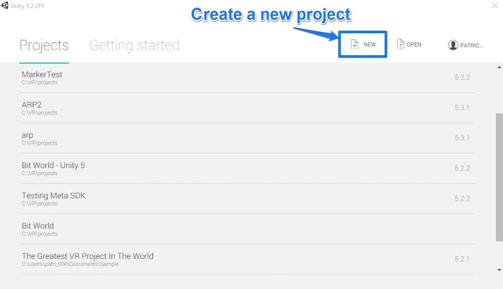 Creating a new project by clicking New
