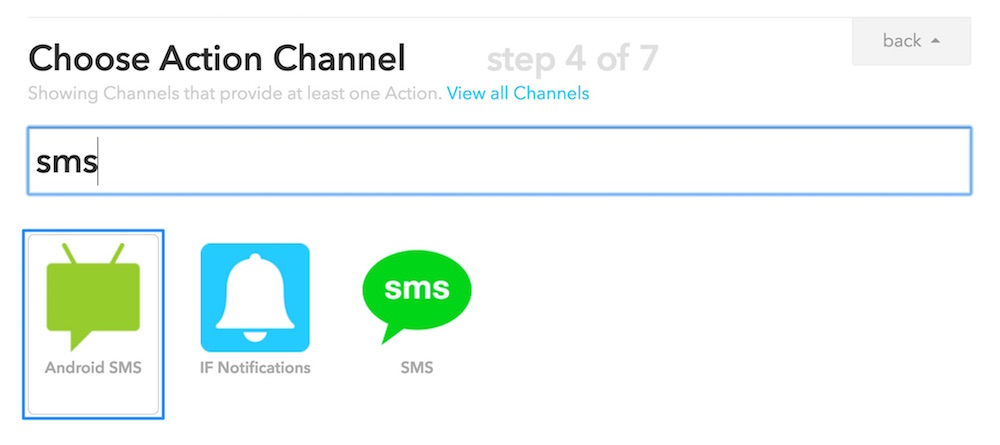 Choosing Android SMS Action Channel