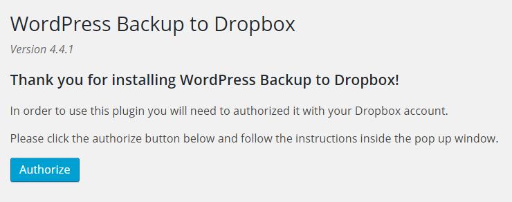 Backup to Dropbox authorize