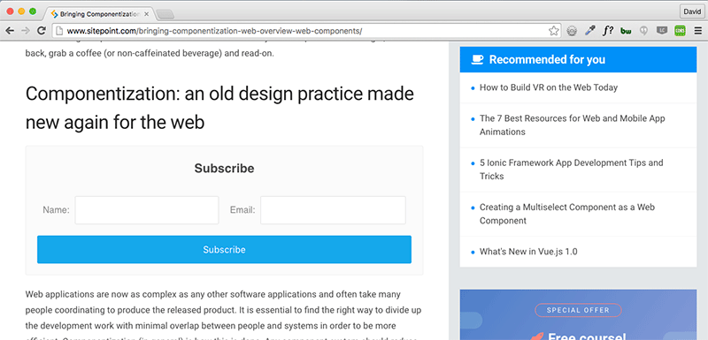 Screenshot of email subscription form imported into main body of SitePoint site
