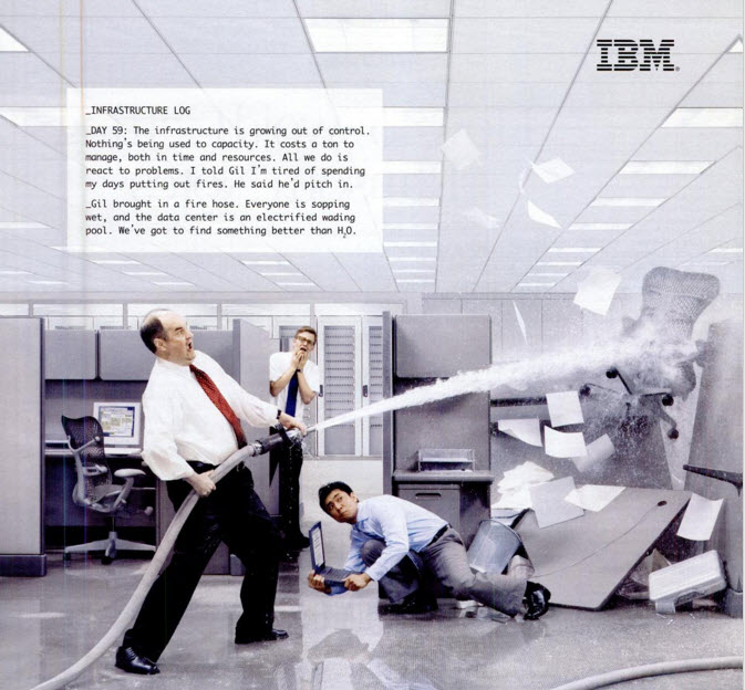 Funny image of fire being put out in IBM office