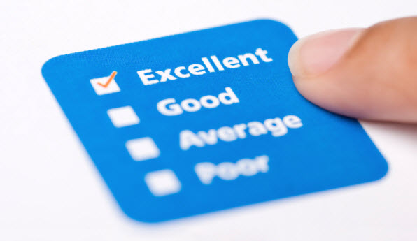"A stock image displaying a rating of adjectives, the top one names ""Excellent"" being selected with a checkmark"