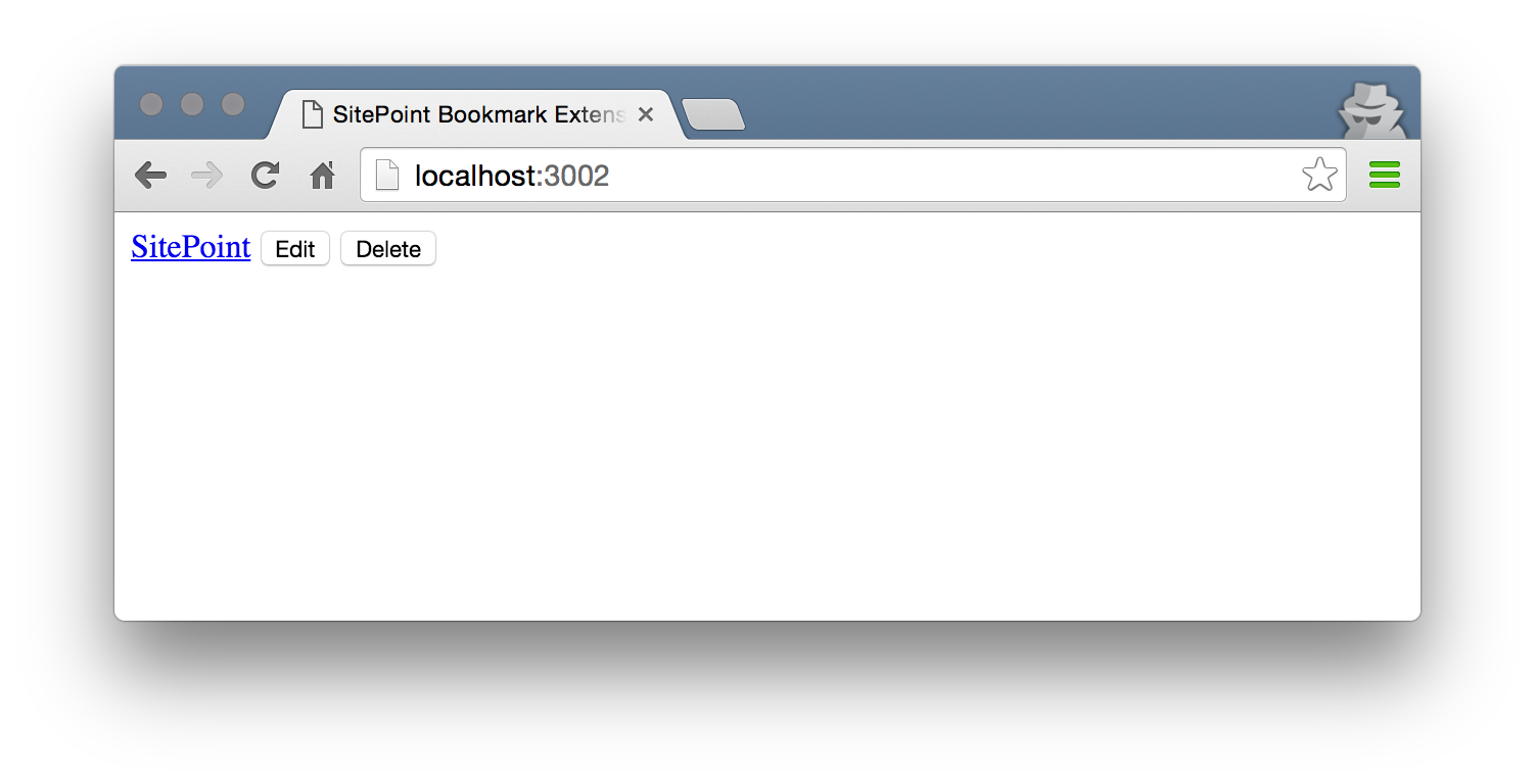 Screenshot of a bookmark with static data.