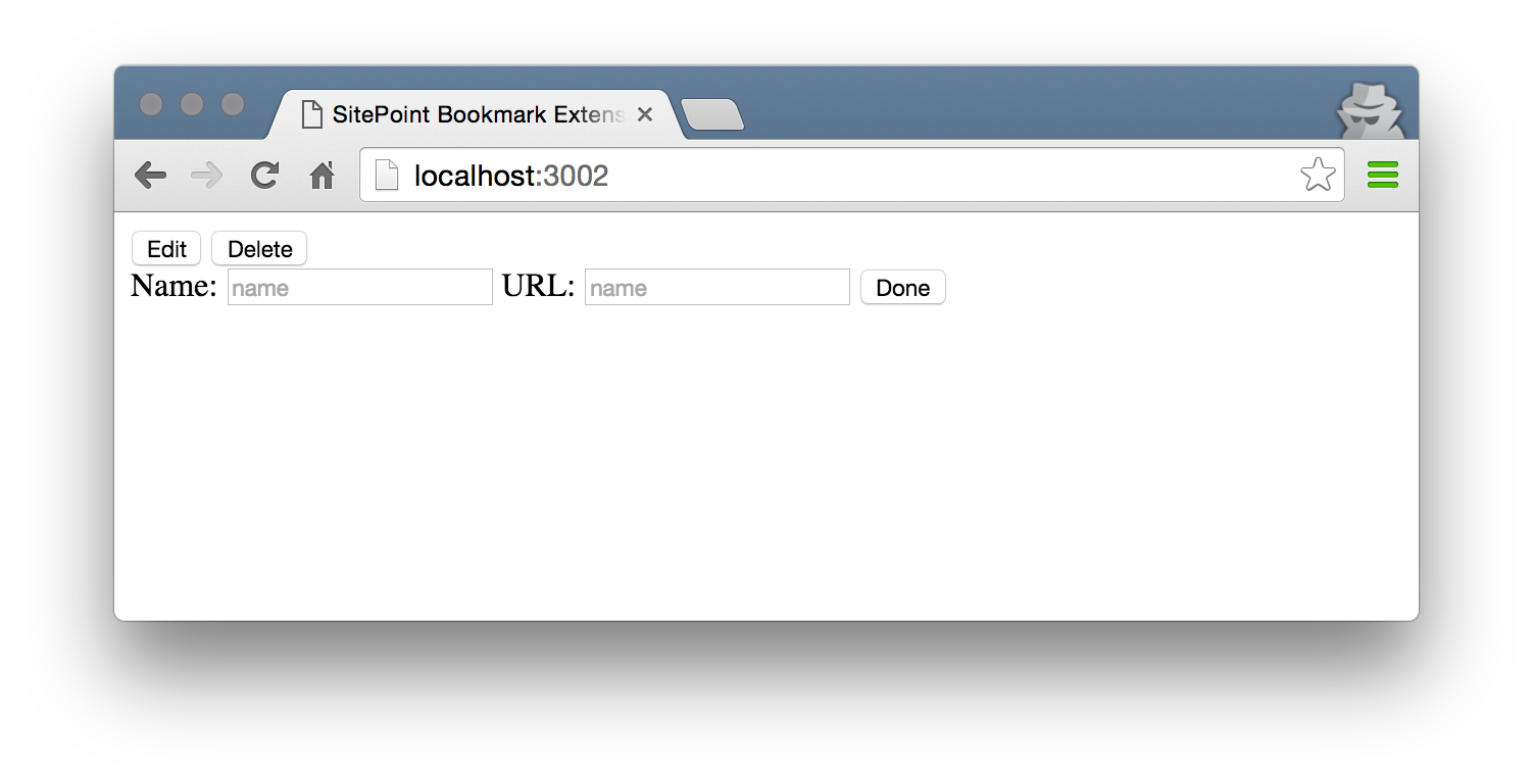 Screenshot of a bookmark without properties.