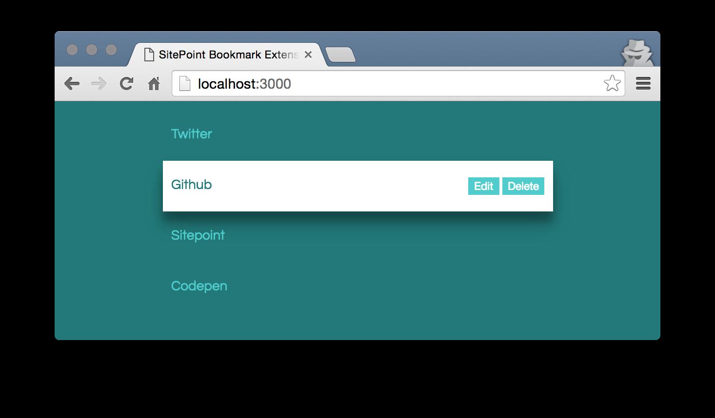 Screenshot of the bookmark lists.