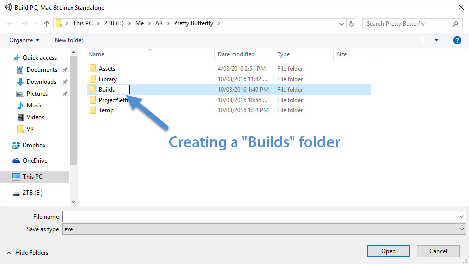 Creating a Builds folder